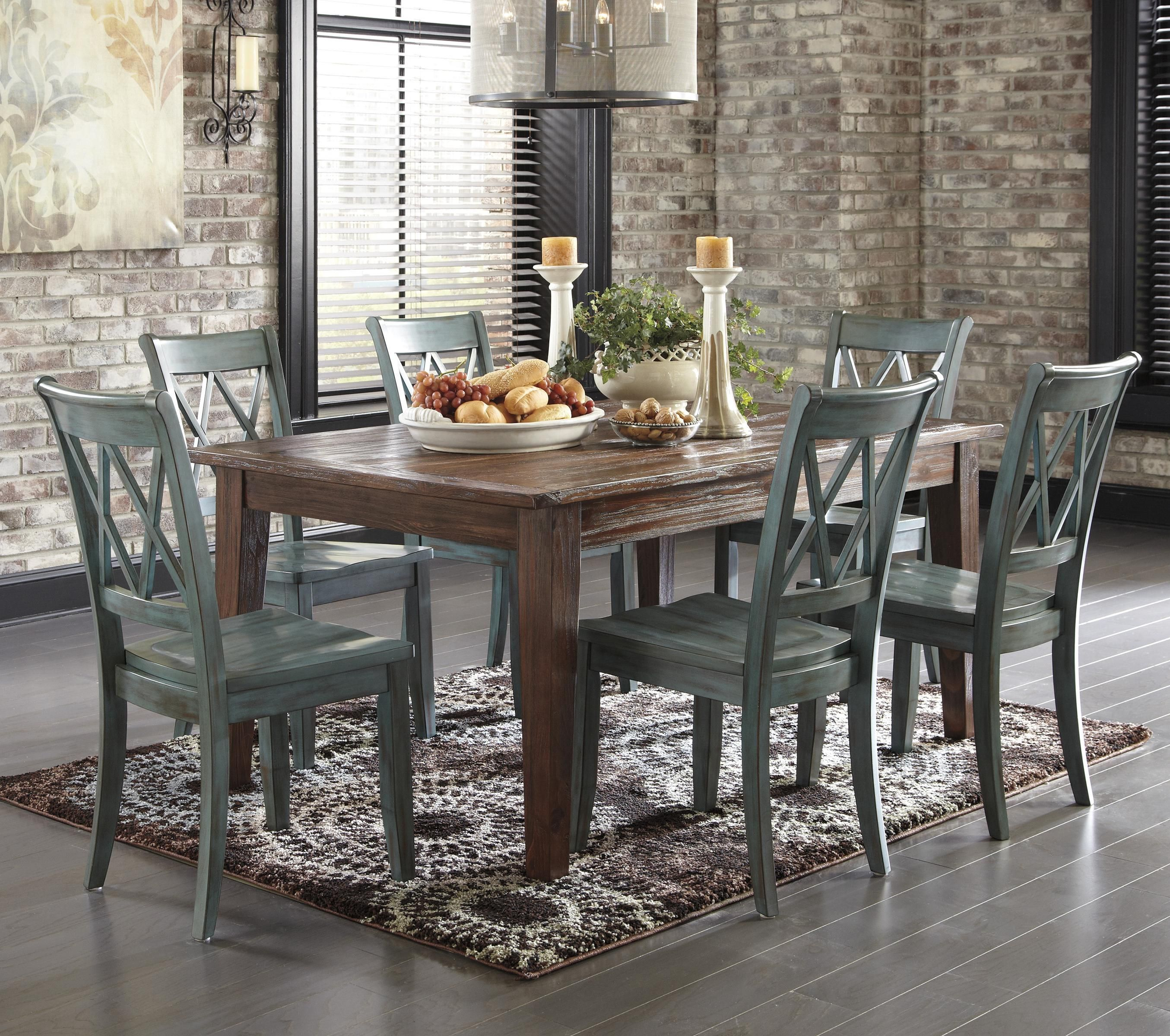 Mestler 7-Piece Table Set with Antique Blue/Green Side Chairs by ...