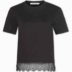 Calvin Klein Gerades T-Shirt mit Spitzensaum L Calvin KleinCalvin Klein