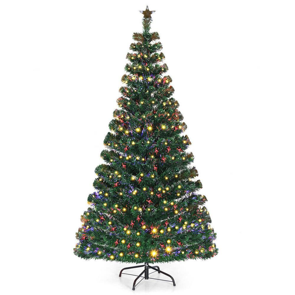 Costway 7 Ft Pre Lit Artificial Christmas Tree Fiber Optic With 280 Led Lights And Top Star Fiber Optic Christmas Tree Pre Lit Christmas Tree Tinsel Christmas Tree