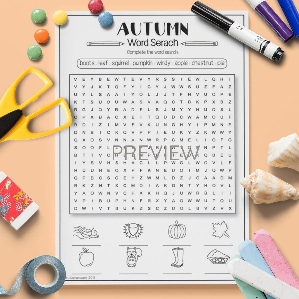 Seasons Autumn Word Search Con Immagini