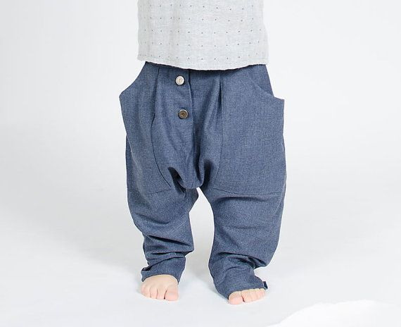 Wool Blue Jeans Pants / Boys / Aladdin Inspired / Harem Style $48