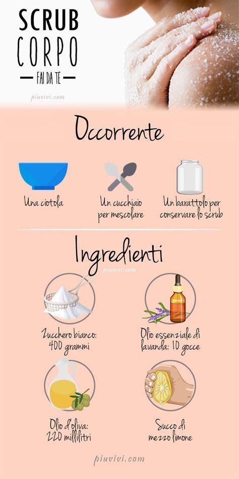 Scrub corpo fai da te con 400 gr di zucchero; 220 ml di olio d'oliva; 10 gocce d…