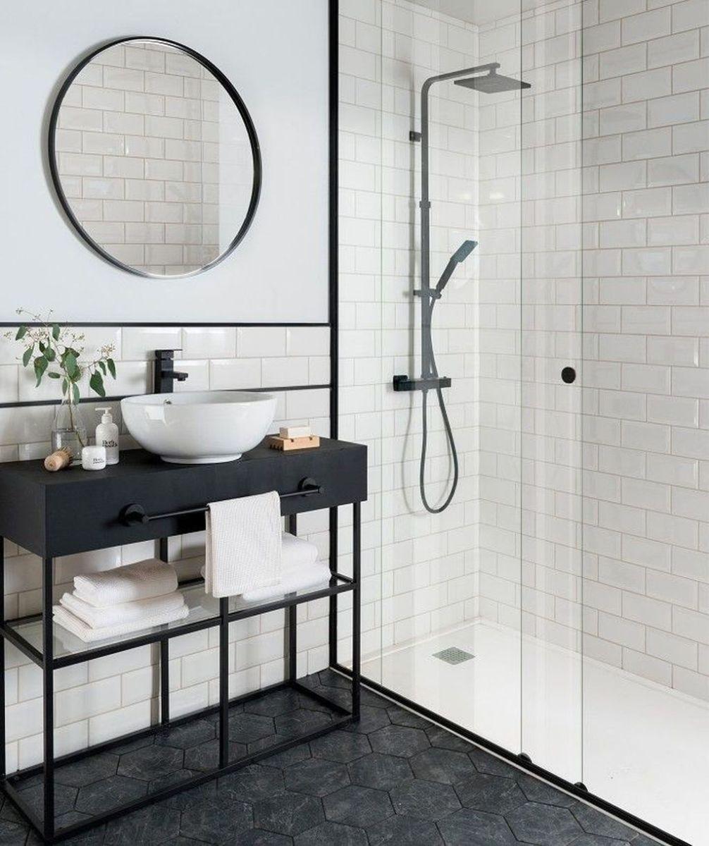 The Best Black And White Bathroom Decorating Ideas 12 In 2020 Bathroom Tile Designs Bathroom Interior Design White Bathroom Tiles