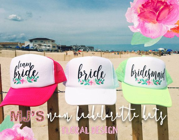 NEON Bachelorette Party Hat   Floral Design by MJsBridalSupport ... cedab2b0a738