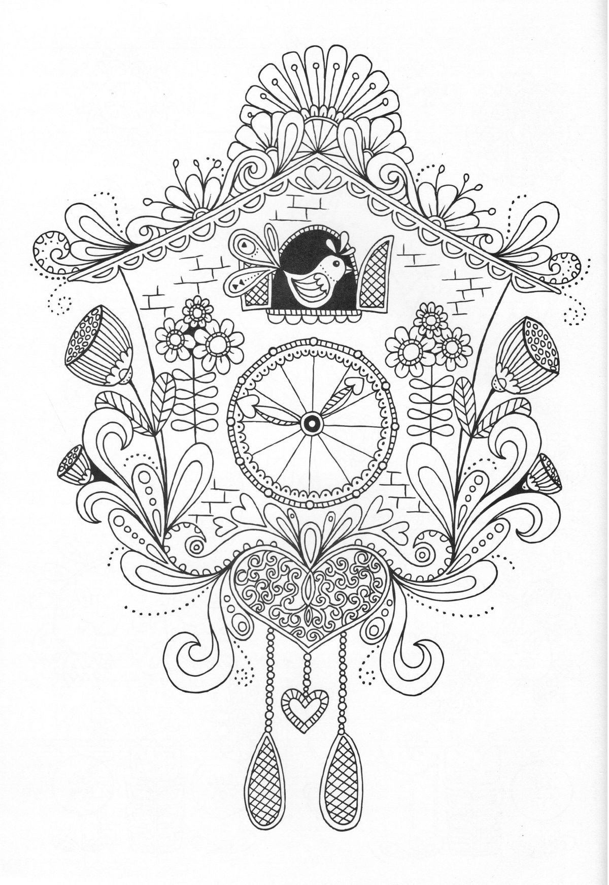Cuckoo clock coloring page Coloring pages Adult