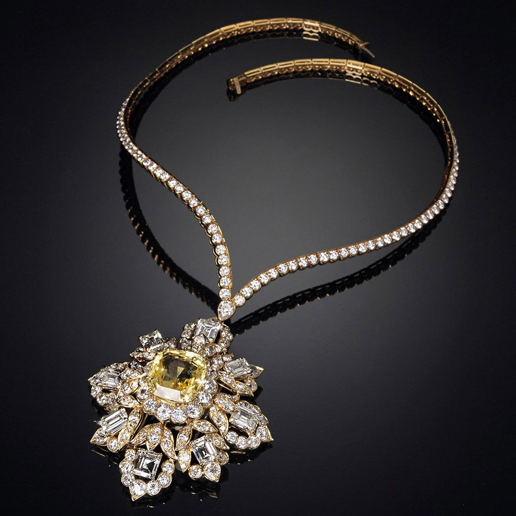 Diamonds and yellow sapphire pendant necklace VAN CLEEF & ARPELS