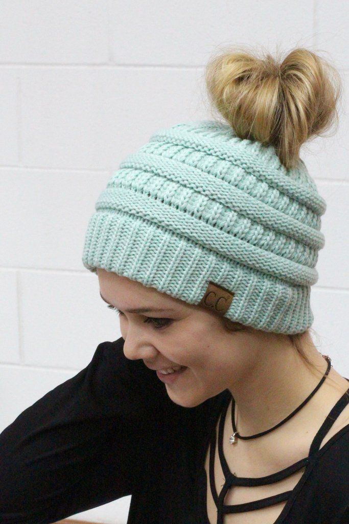 Original CC with messy bun hole in the top. Mint. CC Beanie exclusive. fab37ab6319