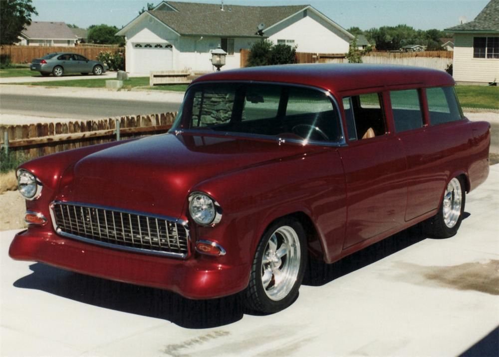 1955 chevy wagon wagons long roofs pinterest cars