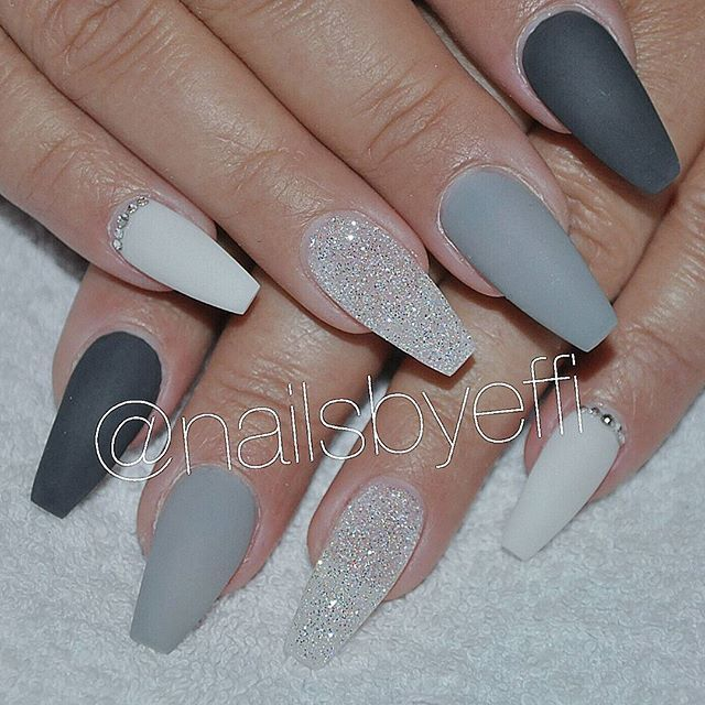 Christmas Acrylic Nails Grey: Matte Grey..White..Diamond And Swarovski Stones ♥ #gel