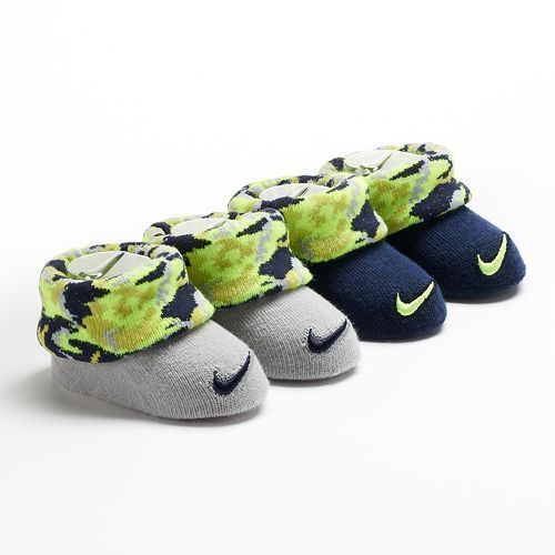 new infant #nike slip-on booties sock crib #shoes black/grey sz 0-6 mths from $9.95