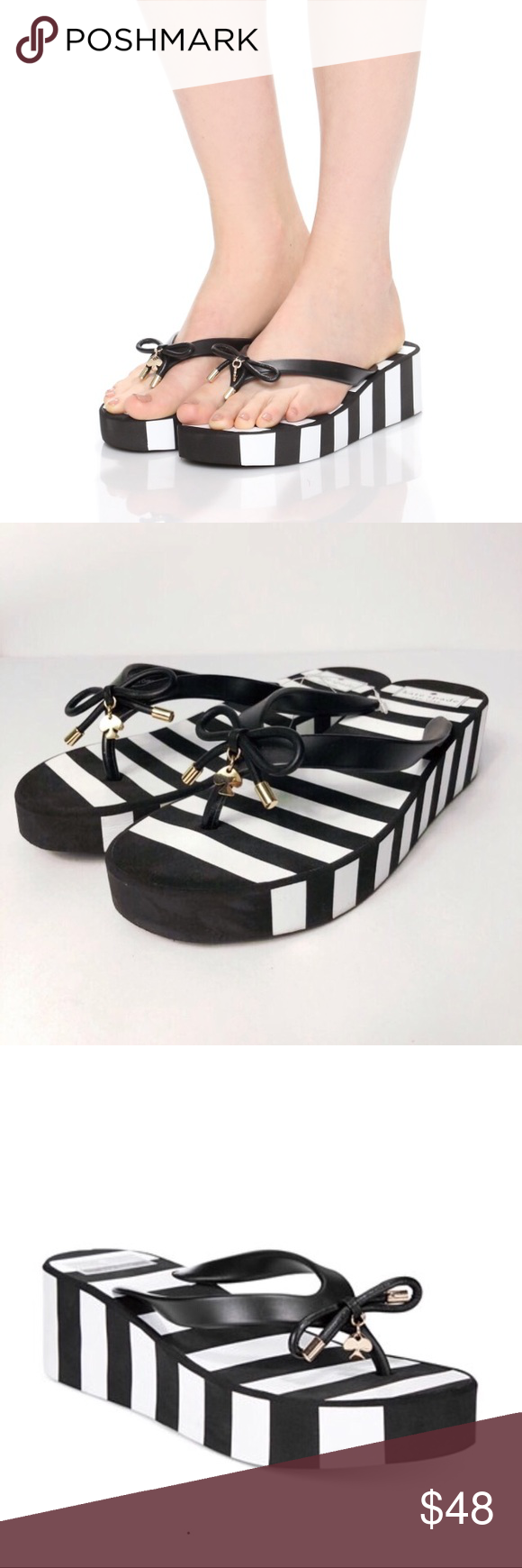 2b2db65408e8 Kate spade New York Rhett wedge sandal ♤ Brand NIB Kate spade black and white  striped wedge flip flop with signature bow and charm detail ♤ So ...