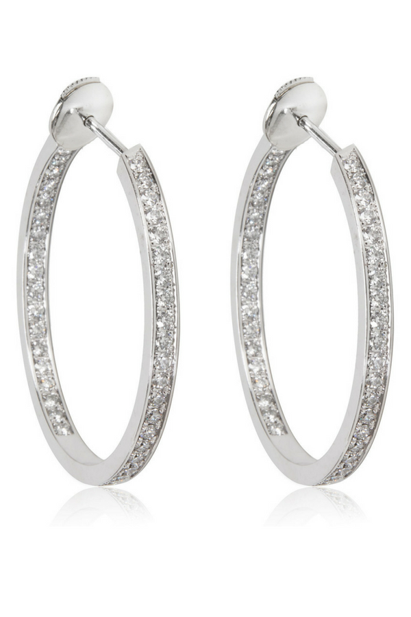 Cartier Diamond Hoop Earring In 18kt 1 80 Ctw 15 000 Enjoy These Encrusted