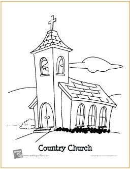 Country Church Free Printable Coloring Page