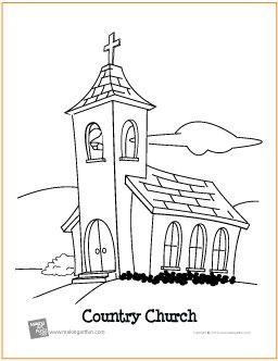 Country Church Free Printable Coloring Page Makingartfun Com