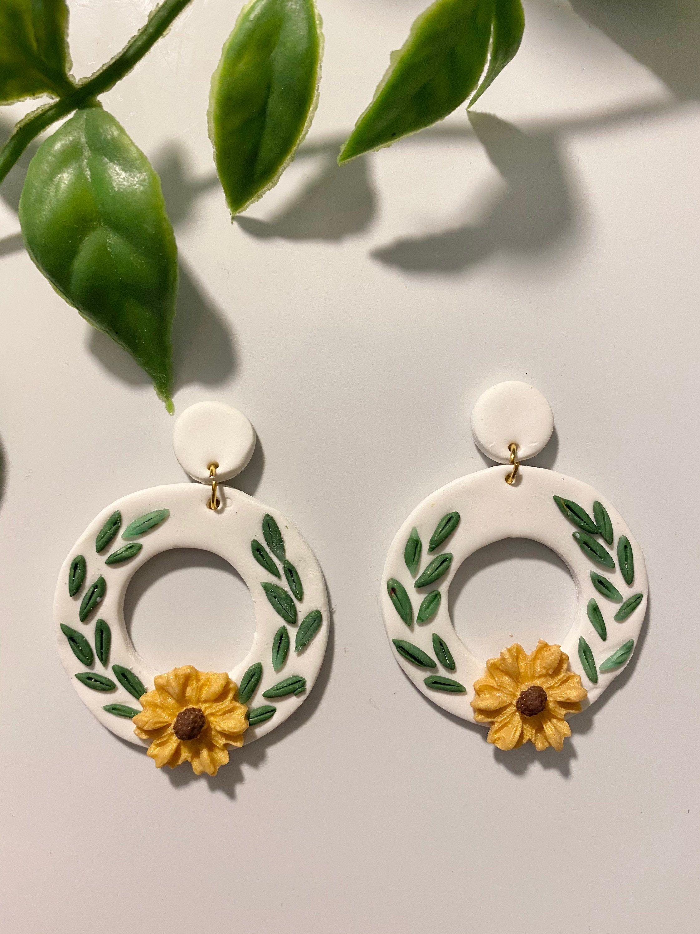 Polymer Clay Statement Earrings Handmade Jewelry ClayCluaise Sunflower Earrings