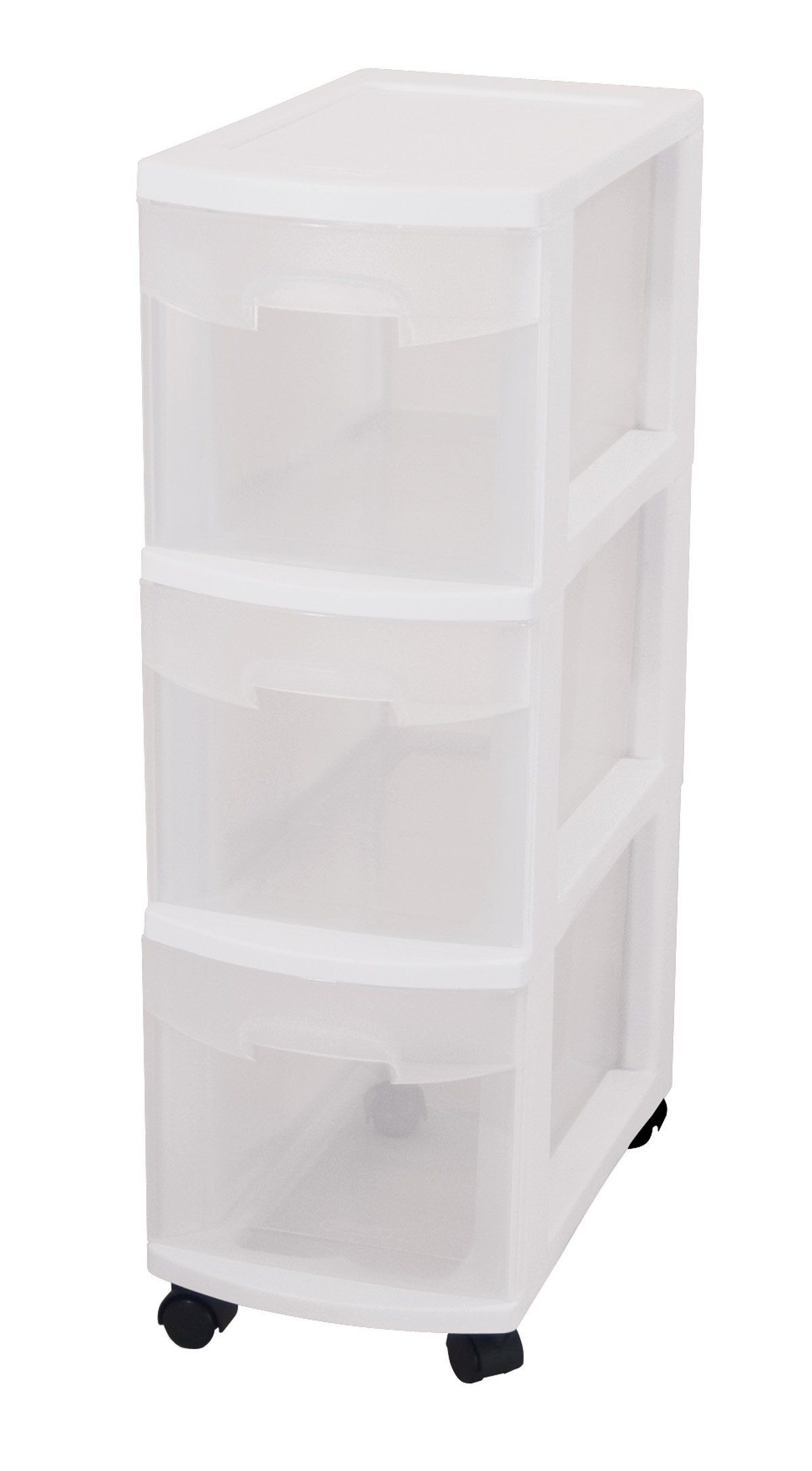 Amazon Com Sterilite 27308003 3 Drawer Narrow Cart With See Through Drawers And Black Casters White Plastic Storage Plastic Storage Drawers White Storage