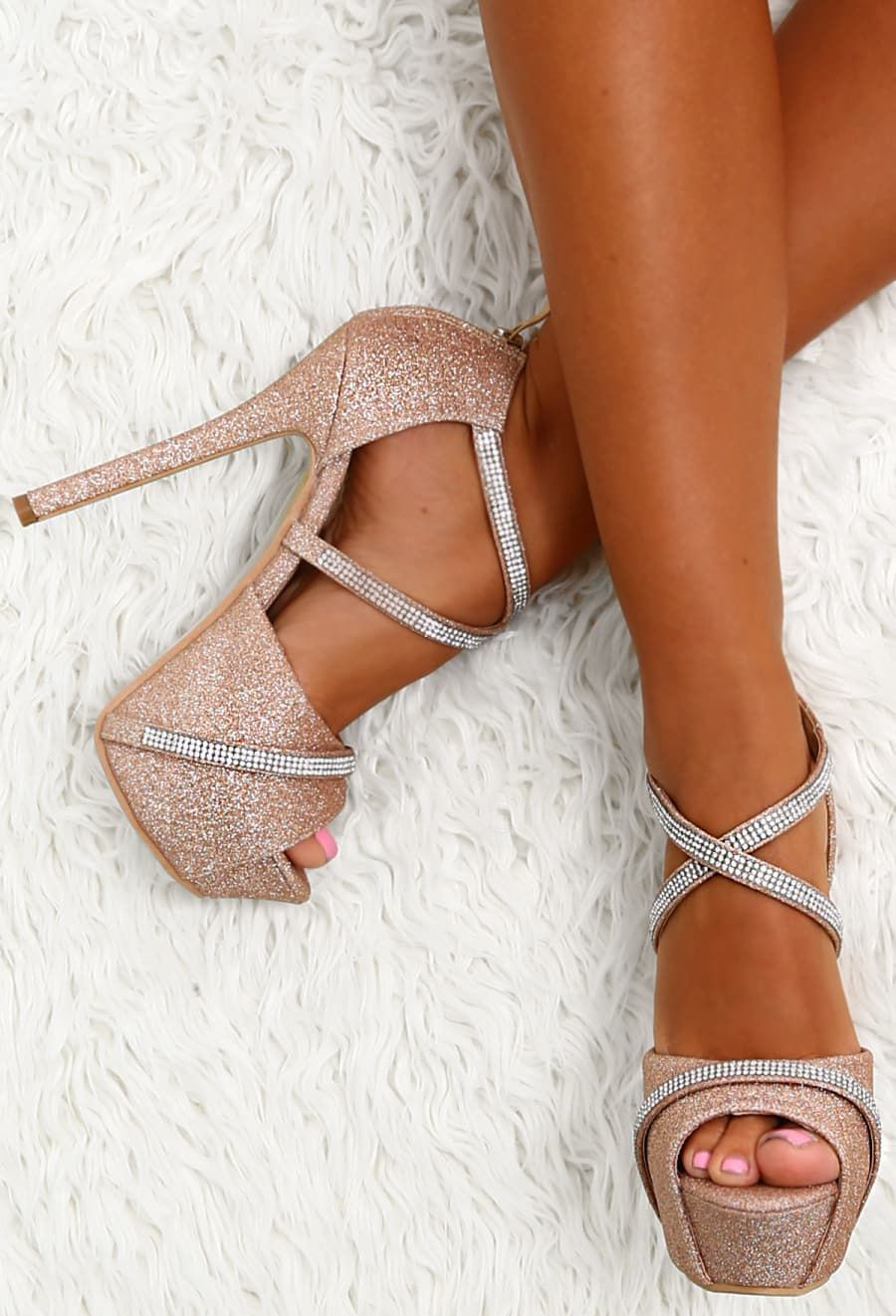 8504b3a8b Party Diva Rose Gold Diamante Glitter Platform Heels