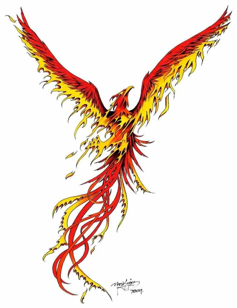 Colorful phoenix tattoo designs - Rising Phoenix Tattoo Design