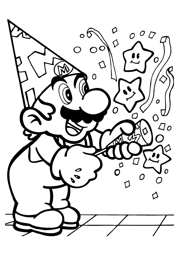 Free Printable Super Mario Anniversary Birthday Coloring Pages For Kids