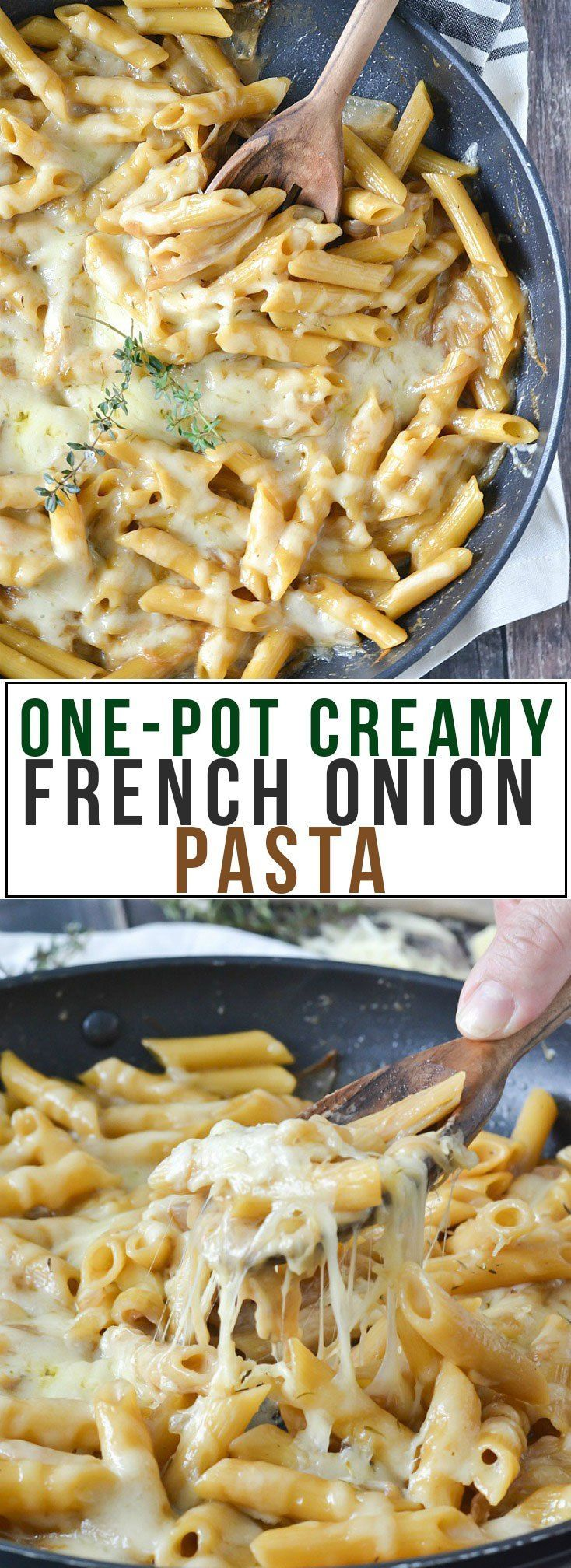you love french onion soup, you're going to love this One-Pot CreamyFrench Onion Pasta loaded with caramelized onions in a creamy and delicious sauce.