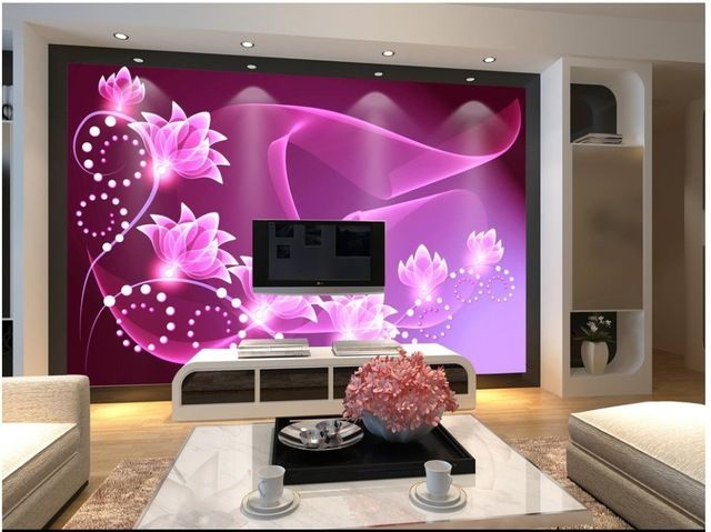 Custom 3d Foto Wallpaper 3d Murales De Pared Papel Tapiz De Ensueno Flor Purpura Decoracion De Glamour Piso De Porcelanato Pinturas De Pared