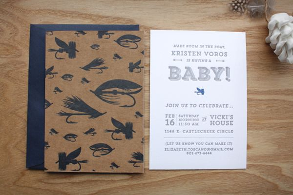 Kristens Fly Fishing Inspired Baby Shower Invitations Cursive
