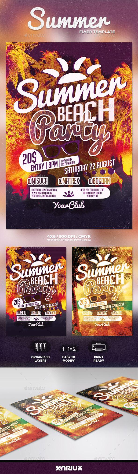 Summer Beach Party Flyer | Pinterest