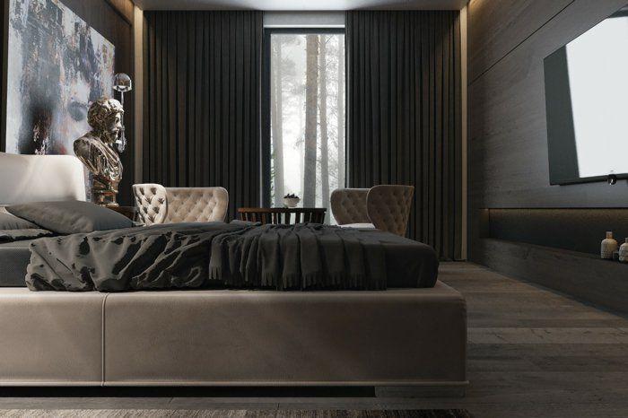 wohnideen schlafzimmer schwarze gardinen bettwäsche wanddeko - wanddeko für schlafzimmer