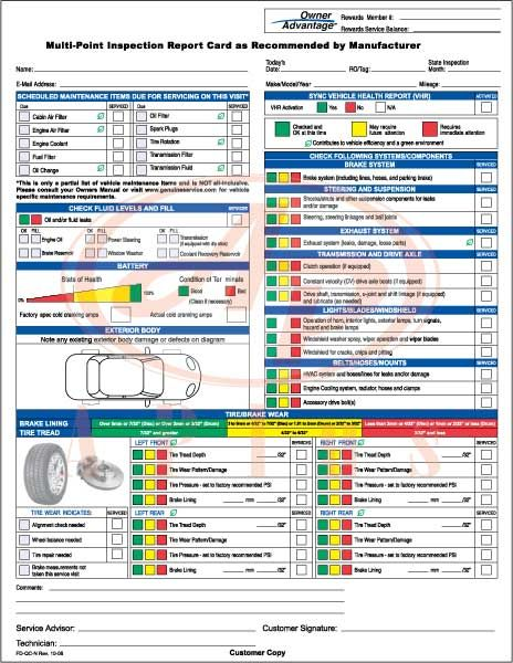 Ford multi-point inspection report card #1 Workshop Pinterest - vehicle engineer sample resume