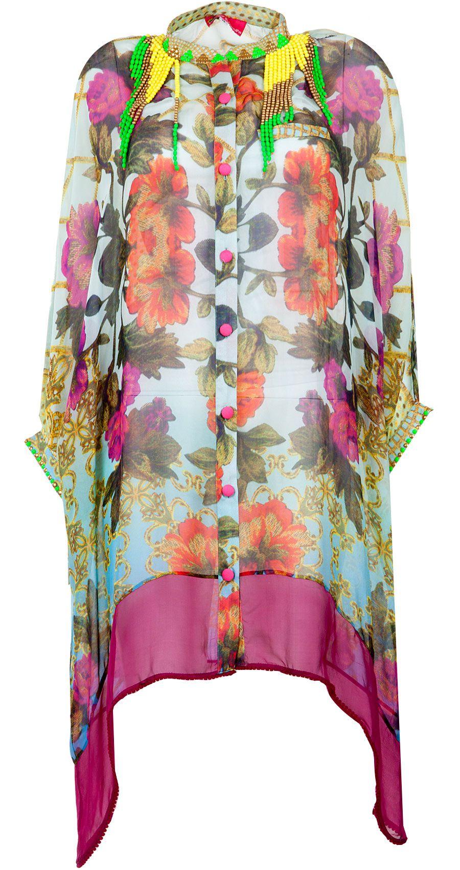 Blue Mat Print Kaftaan Shirt Available Only At Pernia S