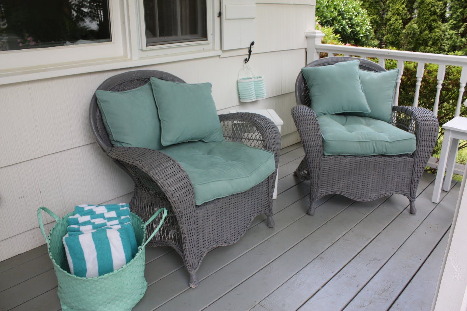 Awesome Gray And White Wicker Chair Cushions Pier Patio