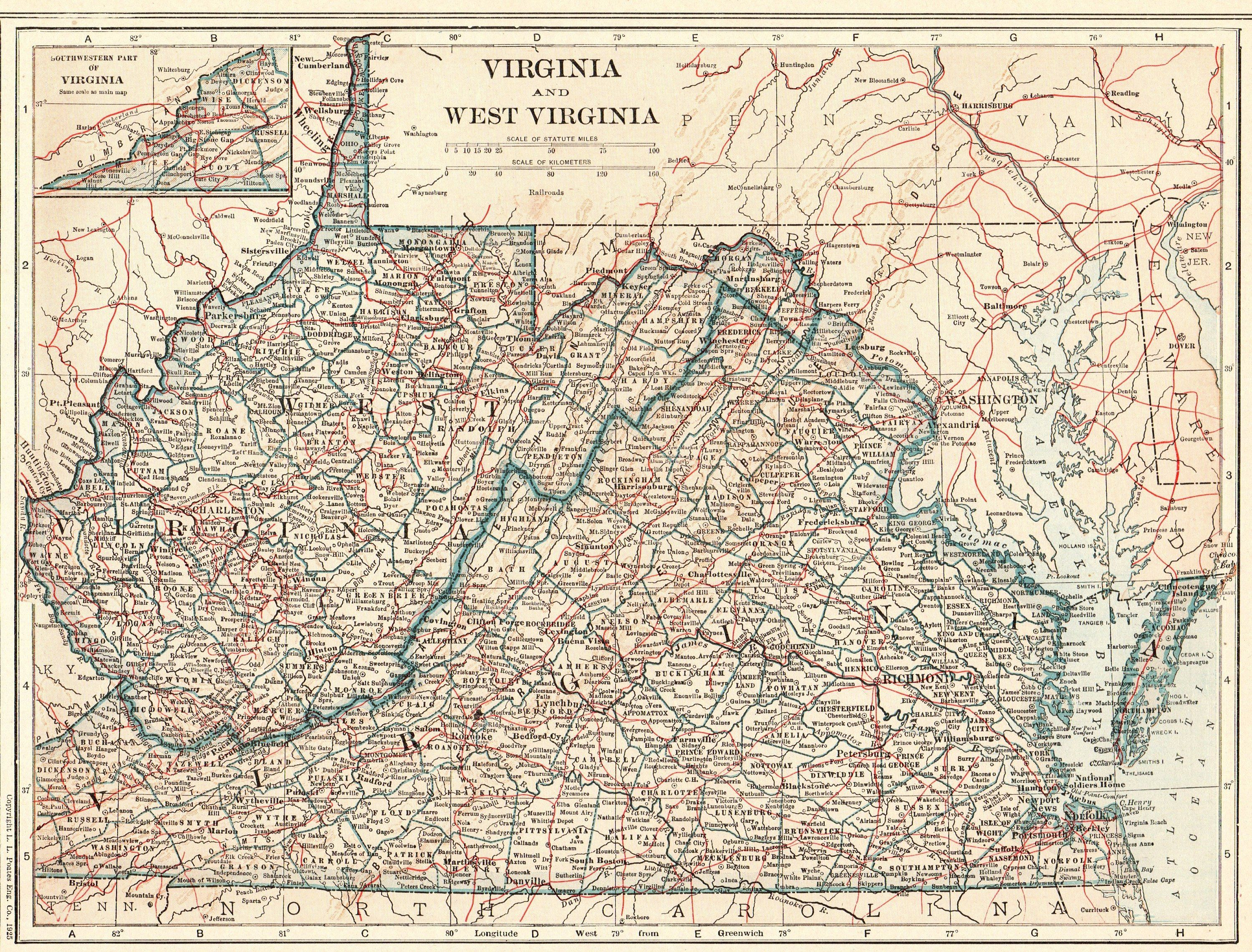 1914 Antique West Virginia State Map Vintage Map Of Virginia State