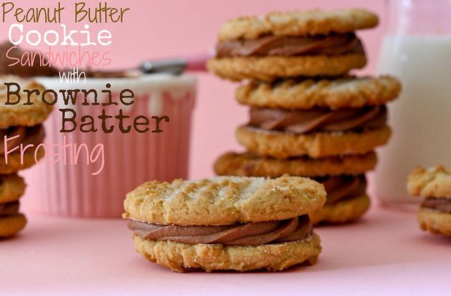 Peanut Butter Cookie Sandwiches with Brownie Batter Frosting