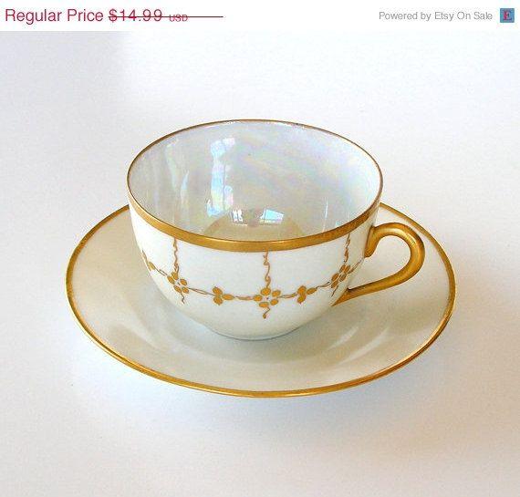 SALE Antique Cup & Saucer Art Deco White Porcelain by retrogroovie