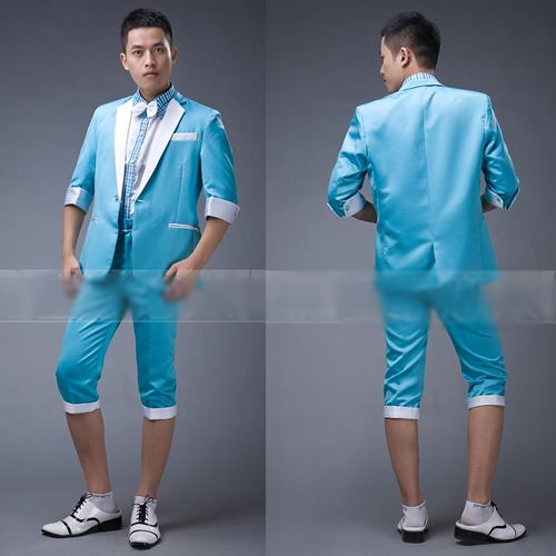 Custom Aqua Blue Cropped Sleeve Pants Casual Dress Prom Suits Men ...