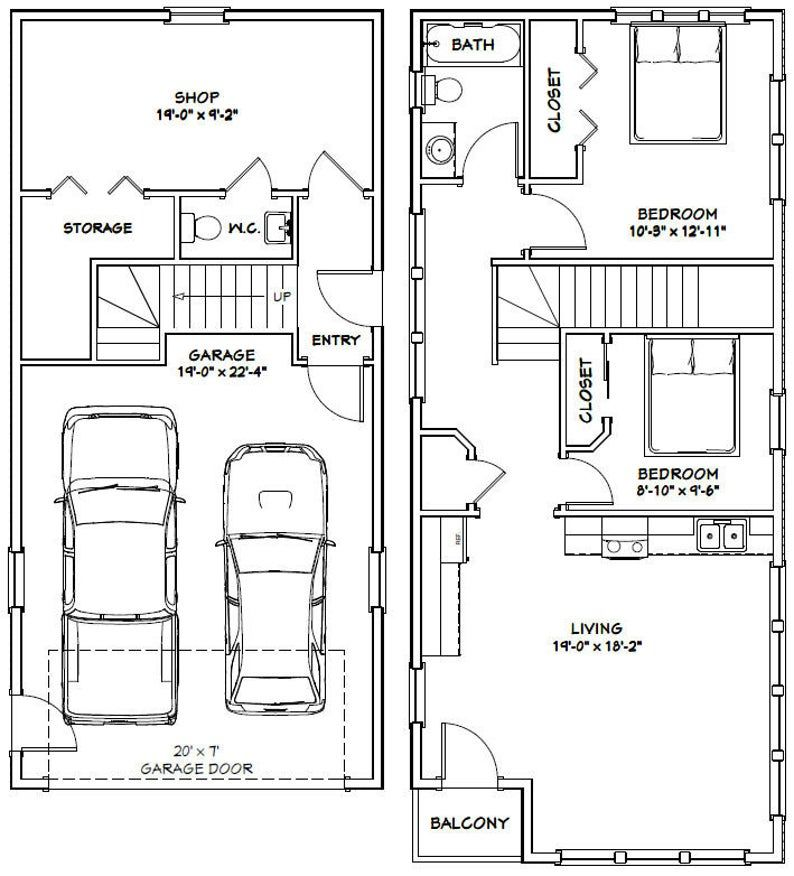 20x42 House 2 Bedroom 1.5 Bath 1153 sq ft PDF Floor Etsy