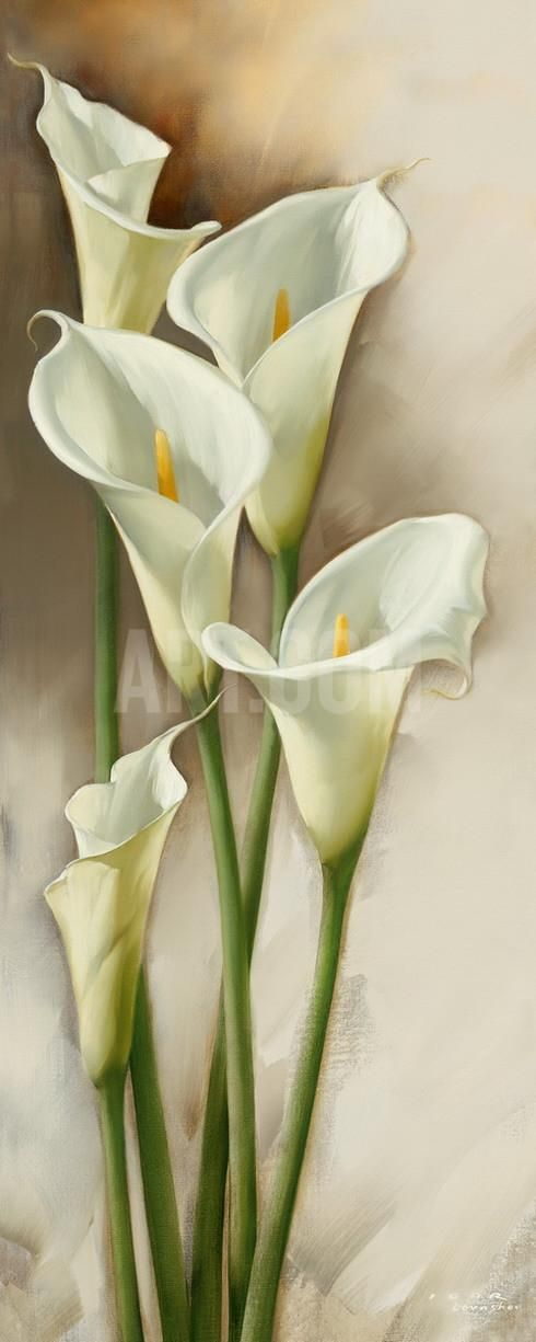 Framed Canvas Floral Modern Wall Art Picture Prints Stain Glass Calla Lily