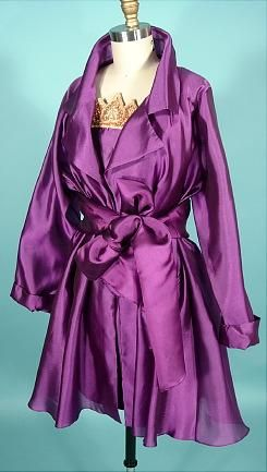 1990 ISABELL KRISTENSEN, London Couture Purple Silk Sheathe Dress with Silk Organdy Overcoat and Tie Belt