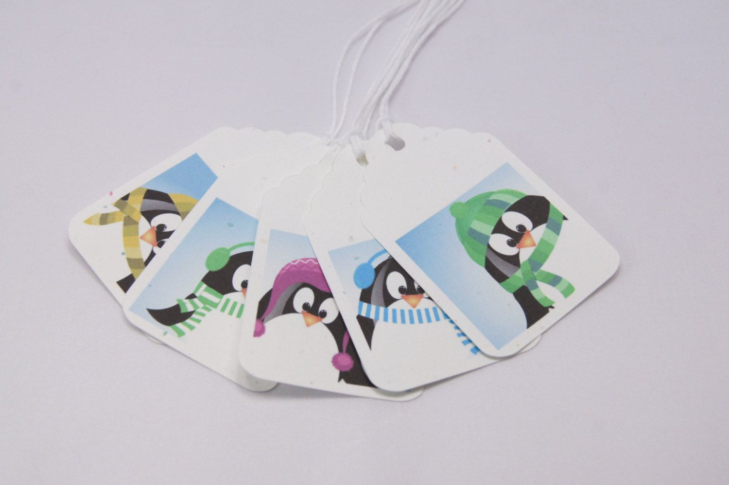 Christmas Penguin Gift Tags Hang Tags T225 (5.00 USD) by PinkiesPalace