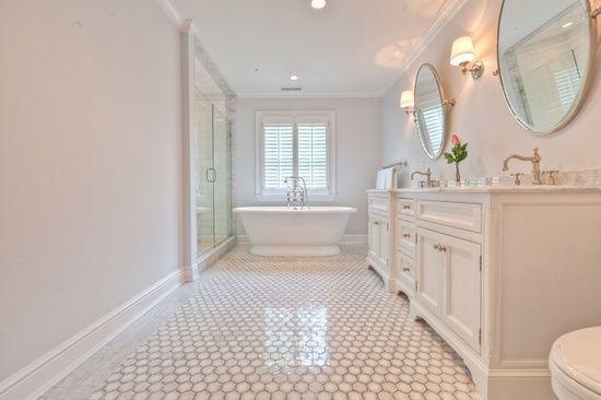 Luxury Hexagon Tiles Bathroom Transitional With White Subway Tile Boston
