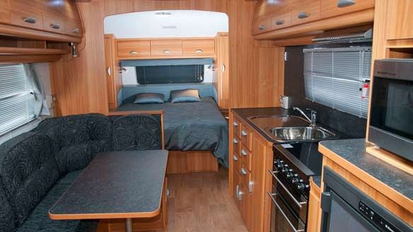 beautiful design of the #caravan kitchen with nice color and