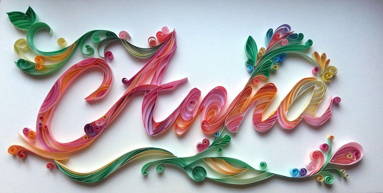 Handmade personalised paper quilling name gift custom names paper