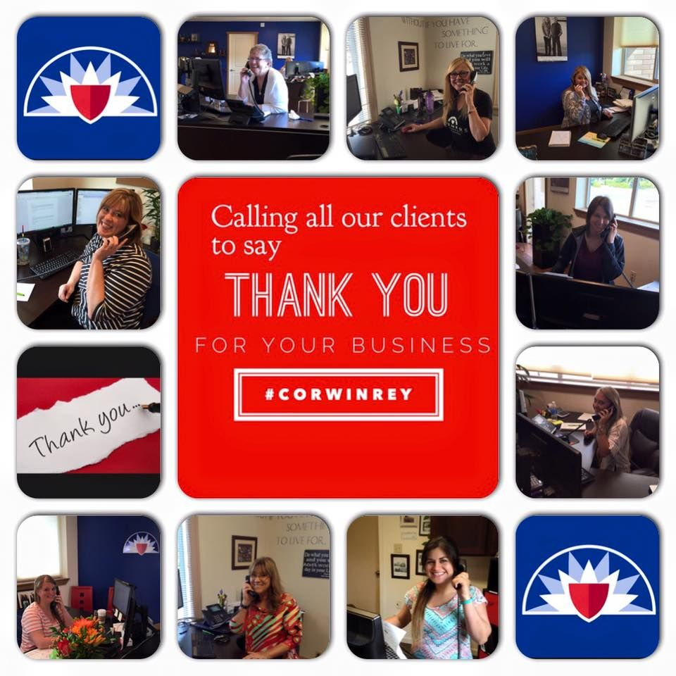 Love days like this where we get to talk to our clients and just say THANK YOU. #over100calls #corwinrey https://www.facebook.com/CorwinReyInsuranceAgency