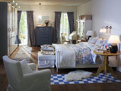 Schlafzimmer im Landhaus Stil Schlafzimmer in Blau und Weiß