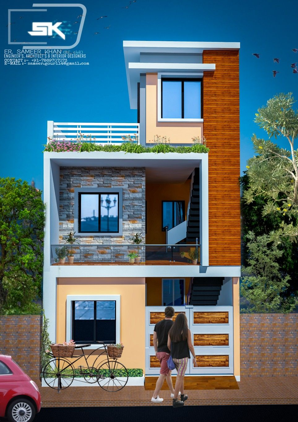 Small House Elevation Design Duplex House Design Latest House Designs: Introducing Indian Modern House Exterior Elevation By Er. Sameer Khan In 17' #indianhouse