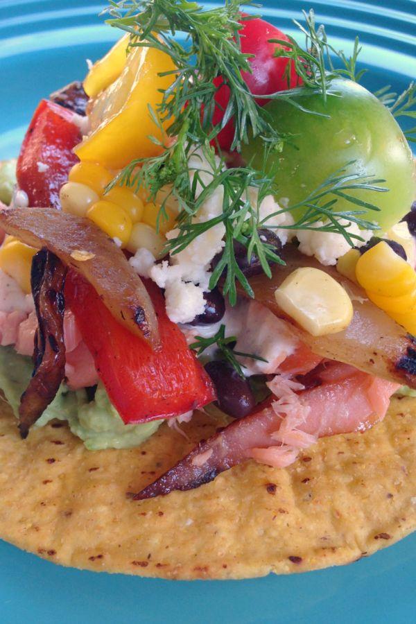 Black Bean Salmon Tostada Recipe | reluctantentertainer.com
