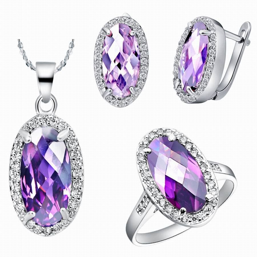 Women Noble Jewelry Engagement Fashion Ring Amethyst Wedding