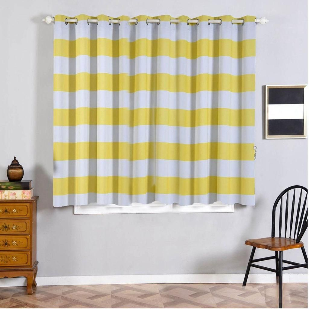 Cabana Stripe Curtains 2 Packs White Yellow Blackout