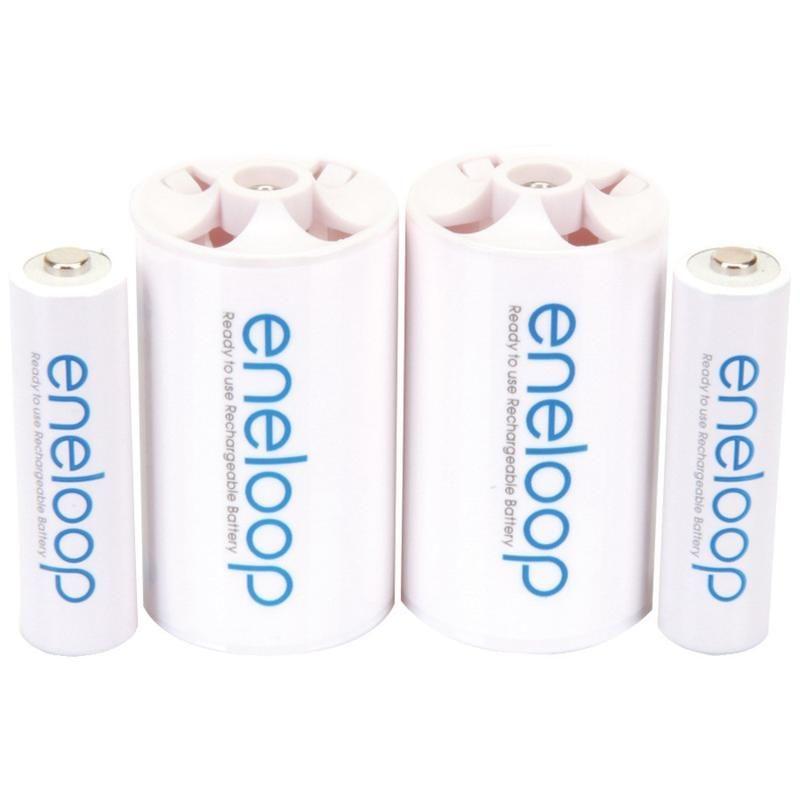 Panasonic 2 Aa Eneloop Batteries 2 Spacers Kit D Size Rechargeable Batteries Panasonic Batteries