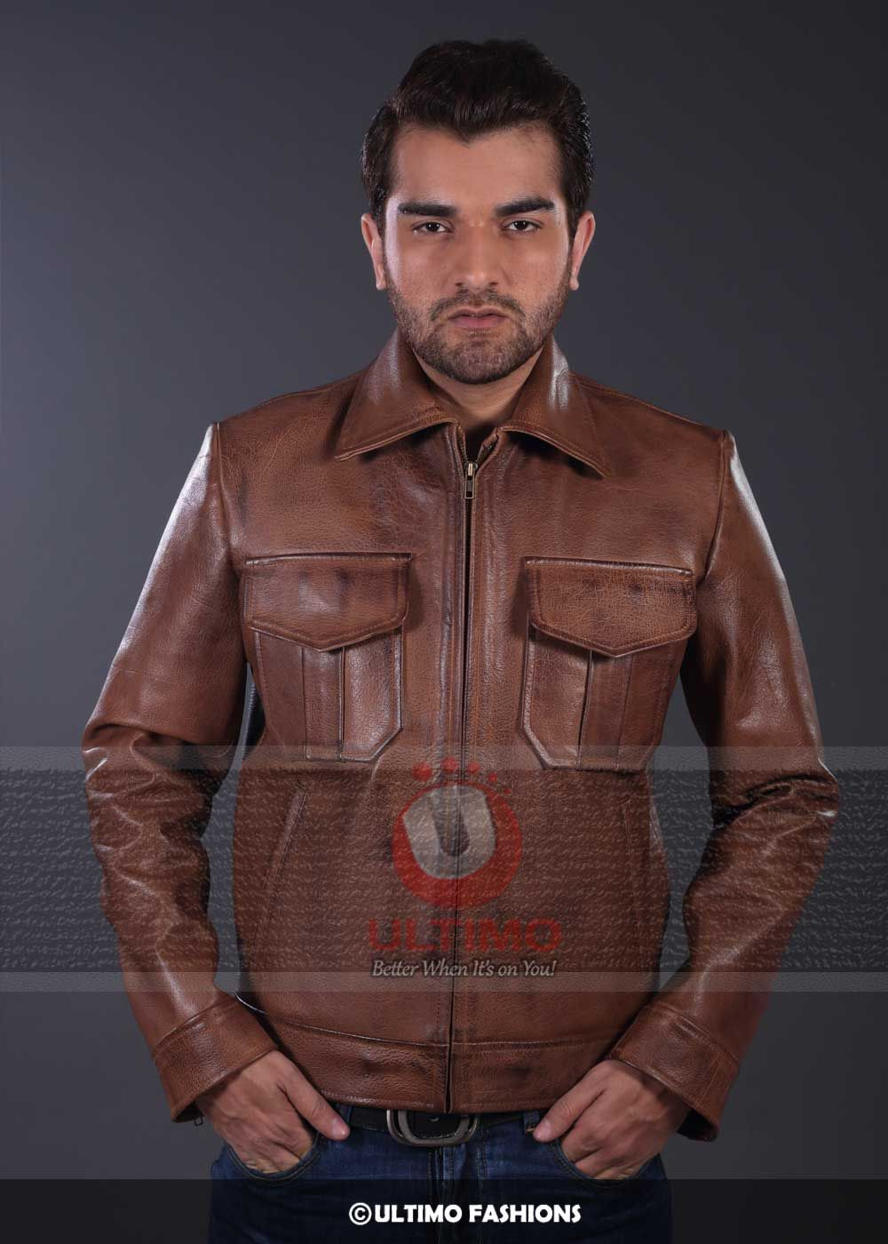 Copper Classic Distressed Pure Leather Jacket Leather